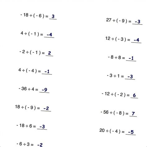 Multiplying And Dividing Integers Worksheets With Answers by Dividing Positive And Negative Numbers Worksheets