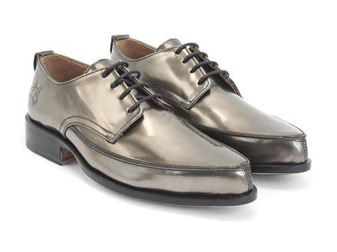 fluevog shoes shop buster metallic grey pointed