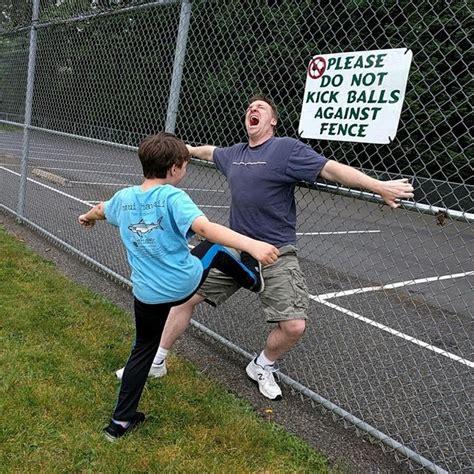 Kick In The Balls Meme - please do not kick balls against fence meme guy