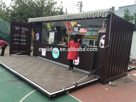 1 mobile shop hydralic opening outdoor shipping container coffee shop
