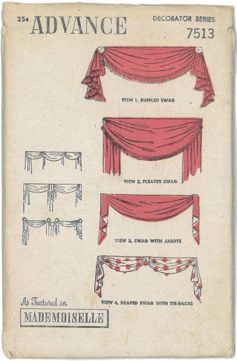 vintage pattern blinds 1930 s 1940 s factory folded vintage swag valances drapes
