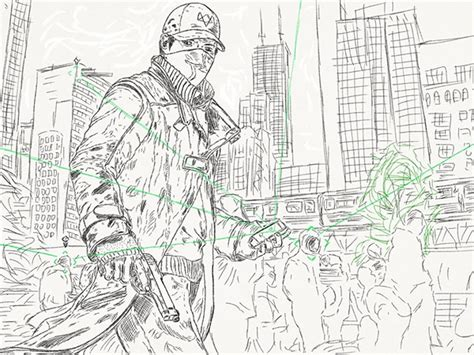 watch dogs coloring pages adobesketch portfolio 2014 august september 25 on behance