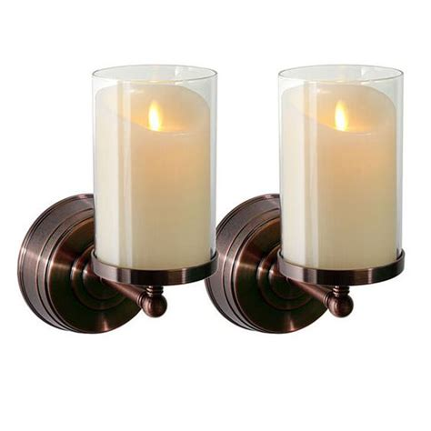 Flameless Candle Wall Sconce Set 2 Wax Candles Bronze Finish And Luminara Candles On Pinterest