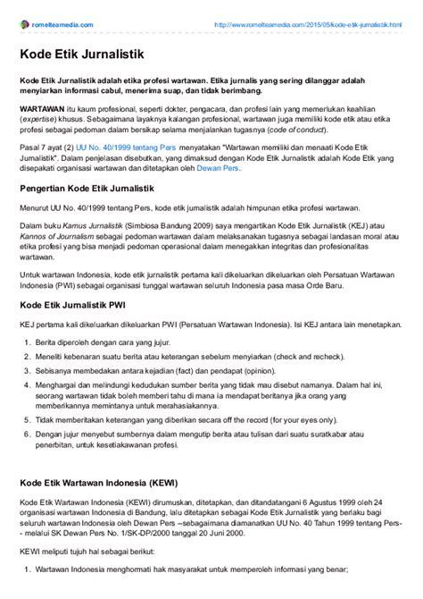 (PDF) Kode Etik Jurnalistik Wartawan Indonesia | Romel Tea