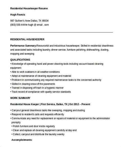 housekeeping resume duties foodcity me
