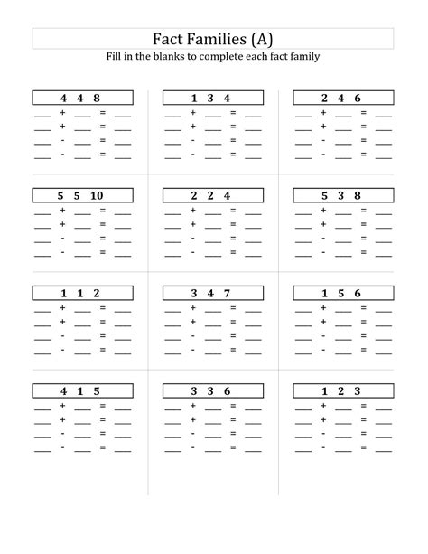 first grade information families of fact first grade fact family worksheets activity shelter