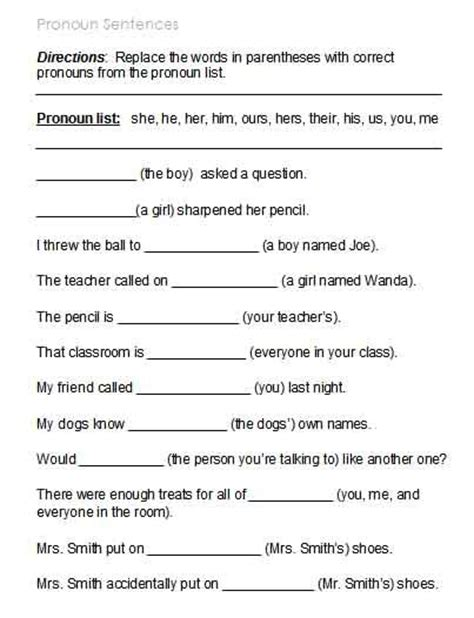 Pronoun Worksheets 6th Grade by Kinds Of Pronouns Worksheets With Answers Search