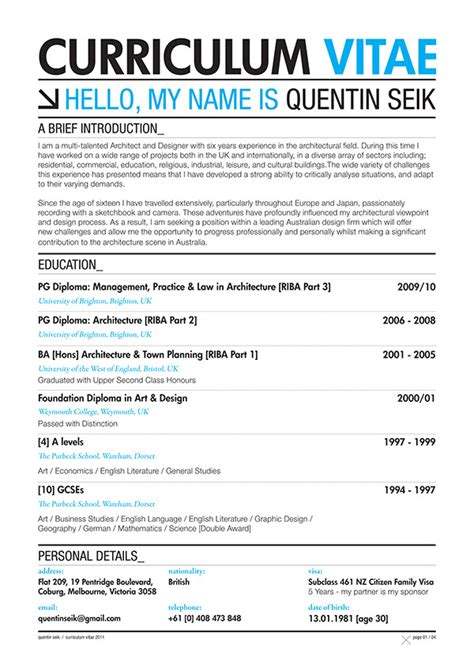 Curriculum Vitae Sle For Architects Quentin Seik Curriculum Vitae 2011 On Behance