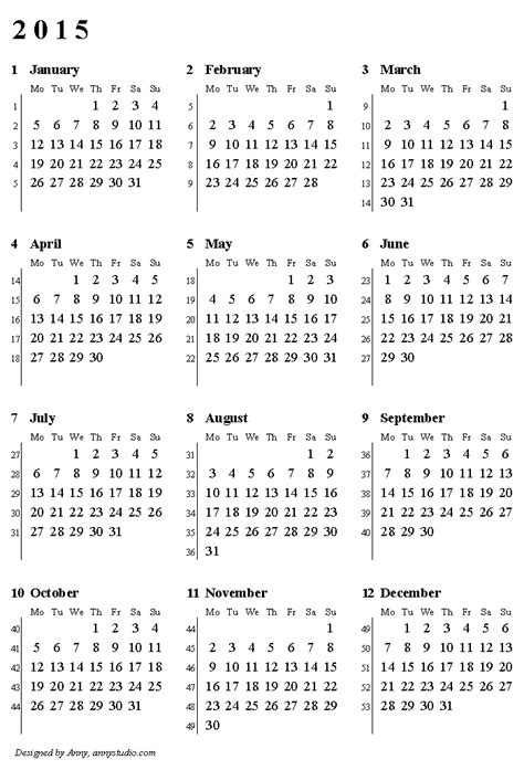Calendar Week Printable Calendar 2015 Weeks Start On Monday With Week