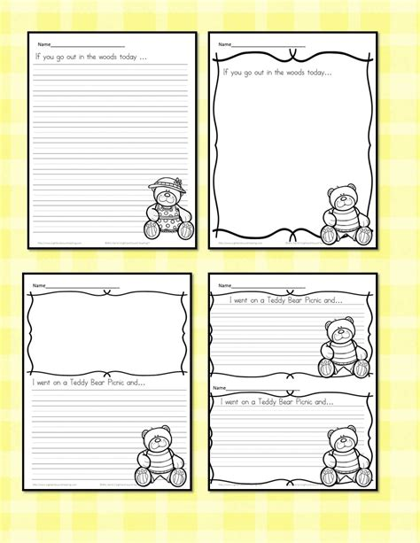 teddy writing paper teddy picnic writing prompts free and