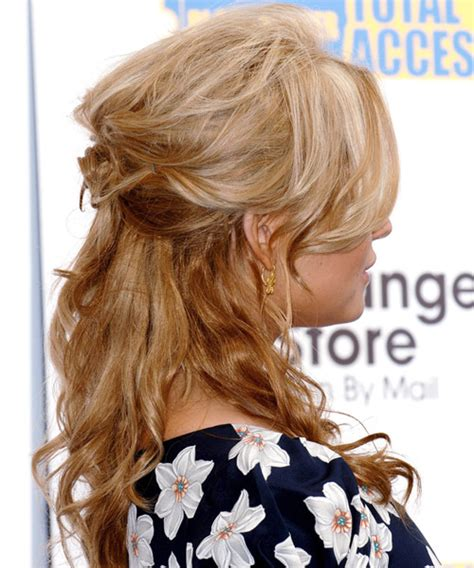 casual hairstyles up jessica simpson curly casual half up hairstyle