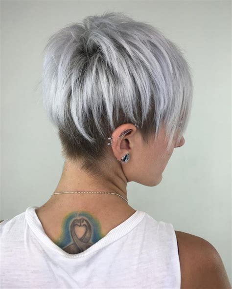 Silver Pixie Hair Cut | silver pixie cut with layered lowlights pinteres