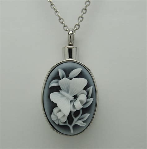 memorial jewelry butterfly cremation jewelry engravable urn necklace pendant