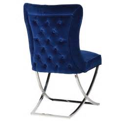 Giotto navy blue velvet buttoned dining chair