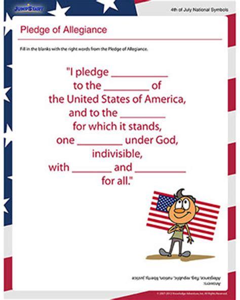 printable lyrics to the pledge of allegiance pledge of allegiance free independence day worksheet for