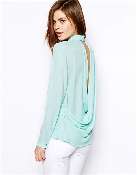 30753 Chiffon Blouse Green 2016 new office workwear blouses shirts back v chiffon blouse mint green turn