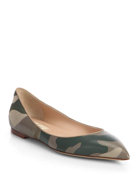 valentino shoes flats valentino camouflage leather ballet flats in green safari