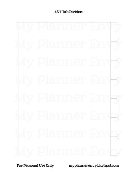 Planner Divider A5 A6 a5 filofax style dividers and tabs free planner