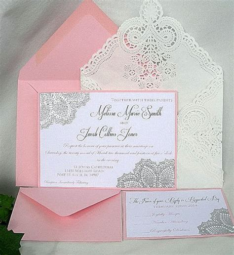 pink and silver wedding invitations blush pink n silver metallic raised embossed doily wedding invitation w doily lace envelope