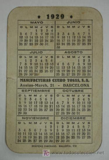 Calendario De 1929 Calendario Para 1929 Con Publicidad De Correas Comprar