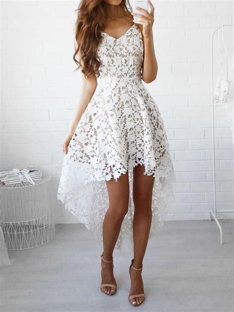 V Neck Spaghetti Lace Dress white v neck dipped hem spaghetti straps cami lace dress