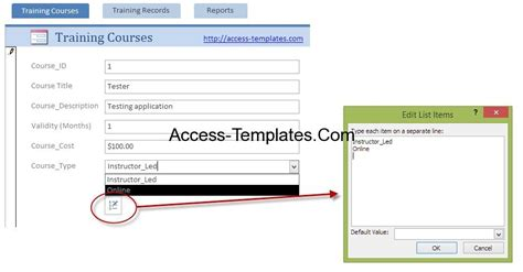 employee training plan template for microsoft access
