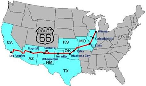 map of the united states route 66 road us 66 map of route 66 with names of states the united
