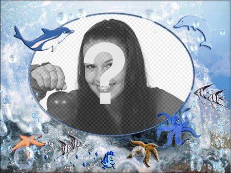 mettere cornice a foto cornice rotonda di animali marini di mettere la vostra