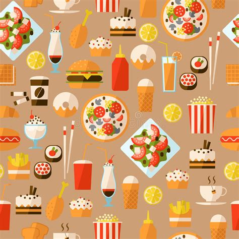 uzbek food stock photos royalty free images vectors seamless pattern with fast food and drink stock vector