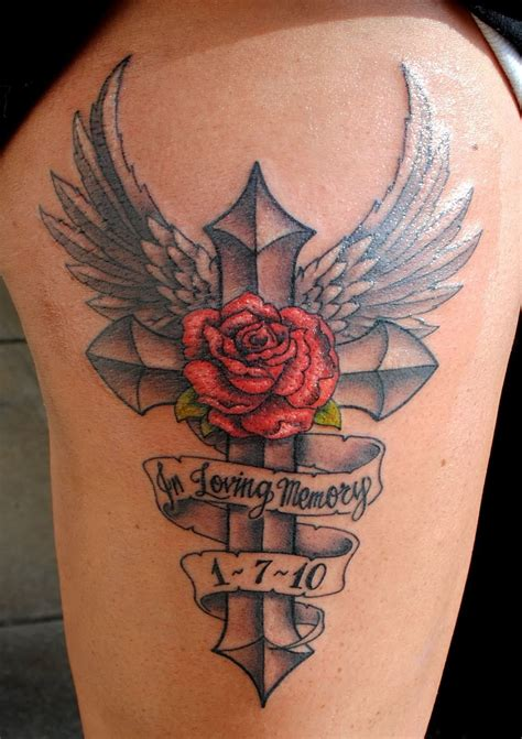tattoo name banners red rose and banner in loving memory over black cross with