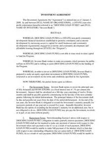 Investment Contract Template by Investment Contract Template 2 Free Templates In Pdf