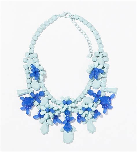 zara blue painted rhinestone floral bib necklace 36