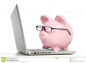 Computer Portable Desk The Pink Pig And Notebook Computer Royalty Free Stock