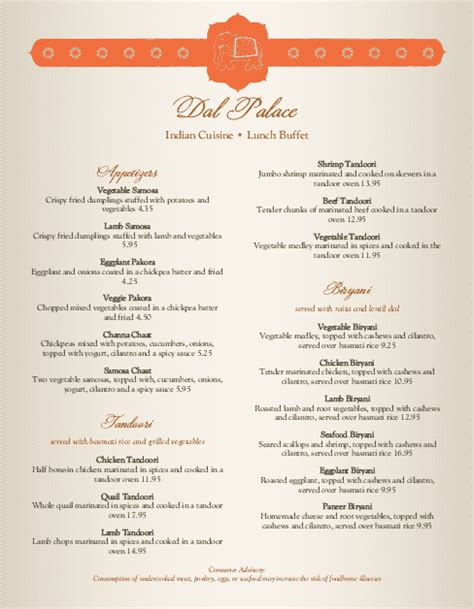 Indian Spice Menu Indian Menus Indian Menu Template Free