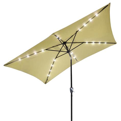 Waterproof Patio Umbrellas 10 X6 5 Patio Solar Umbrella Led Light Tilt Deck Waterproof Garden Market Ebay