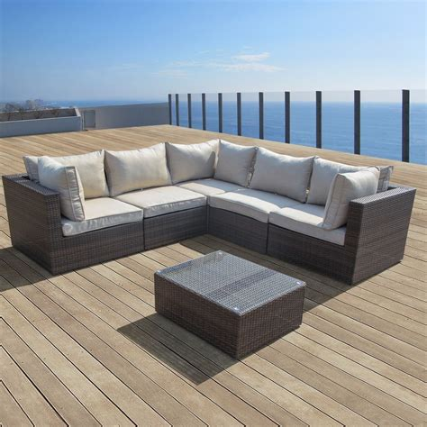 Supernova 6pc Patio Furniture Rattan Sofa Set Outdoor Sectional Patio Furniture Sets