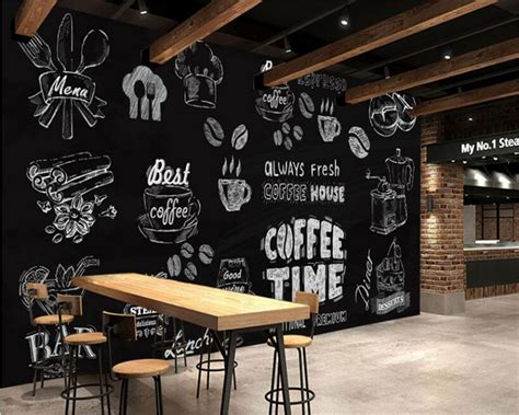 coffee shop wallpaper murals beibehang 3d wallpaper black and white handmade coffee
