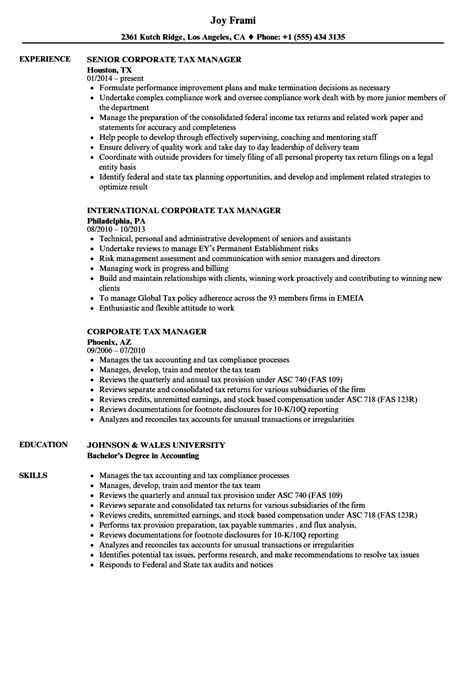 Tax Executive Resume Sles corporate tax manager resume sles velvet