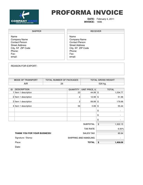 template of proforma invoice best photos of professional invoice template excel free