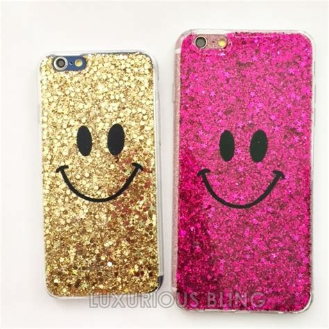 Casing Hp Gliter Iphone 6 Plus Color Pink gold glitter smiley iphone iphone 6 6 plus