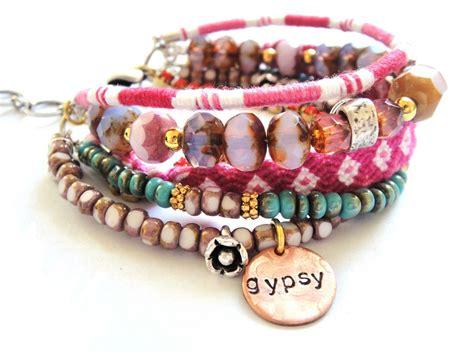 Bohemian hippie bracelet with friendship bracelets by OOAKjewelz