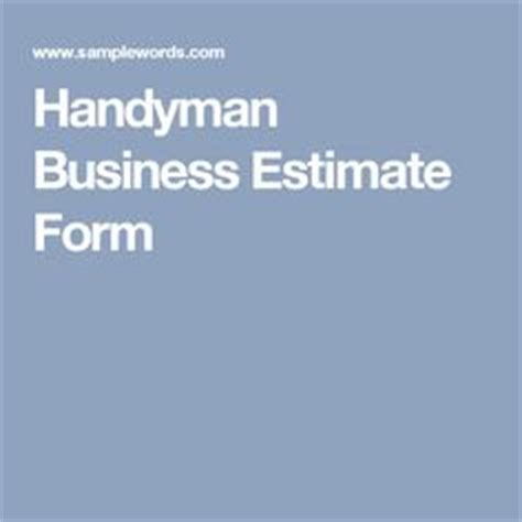handyman business estimate form handyman business estimate form proposals business and
