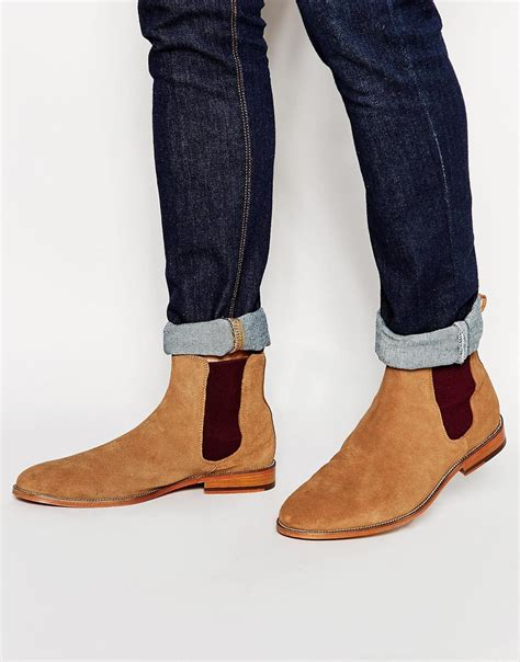 light tan suede chelsea boots lyst bobbies l horloger suede chelsea boots brown in