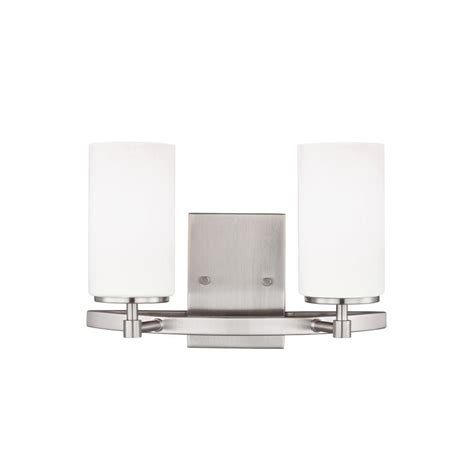 Sea Gull Vanity Lighting Sea Gull Lighting Alturas 2 Light Brushed Nickel Vanity Light 4424602en 962 The Home Depot