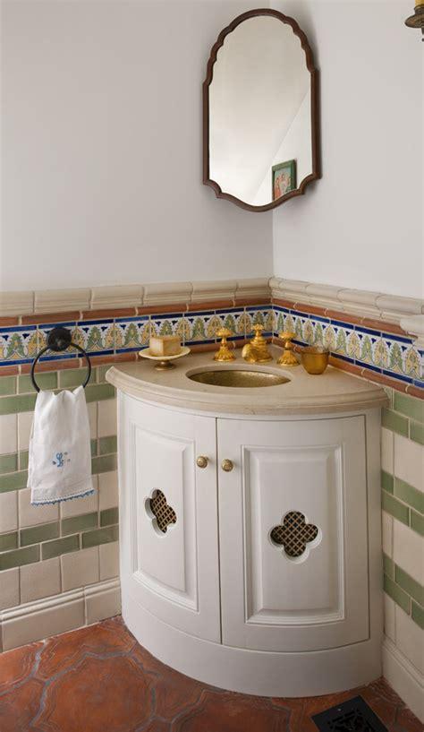 corner powder room sink corner vanity sink spaces transitional with cherry vanity