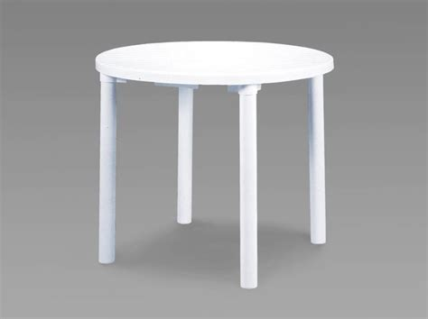 Round white resin garden table patio amp outdoor bistro dining 90cm ebay