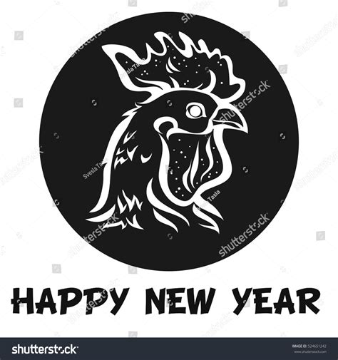 new year element sign rooster decorative element label stock vector