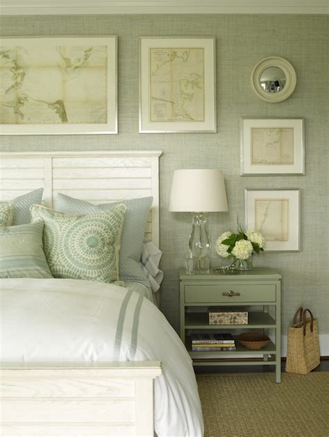 gray green grasscloth cottage bedroom phoebe howard