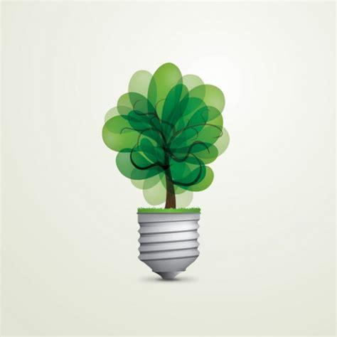 green light tree green energy bulb vector free