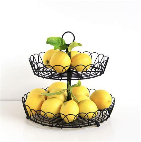 Countertop Fruit Storage by Black Metal 2 Tiered Stand Fruit Storage Display Basket